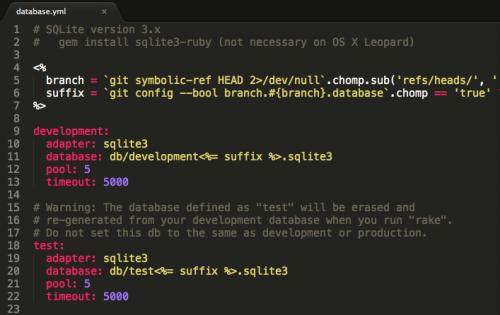 Git, branches et base de données